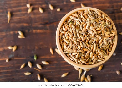 Barley grain in wooden bowl on wooden table