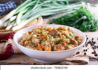 Barley porridge boiled with carrots, onions, pepper and garlic is a traditional Slovenian dish called ricet
