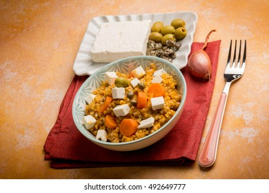 barley salad with feta cheese anchovy capers and olives