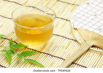 barley tea and round fan