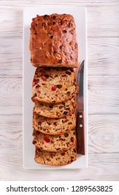 Barm brack traditional irish fruit bread, sliced