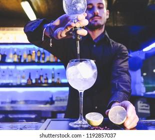 Barman attending a mixology course