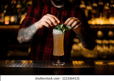 Barman decorating tasty Sherry Cobbler drink in a cocktail glass with mint leaves on the bar counter