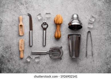 Barman equipment tools and cocktail ingredietns, top view