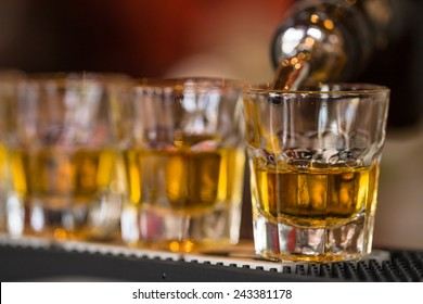 Barman makes whisky shot drinks in row. Alcoholic shots in nightclub