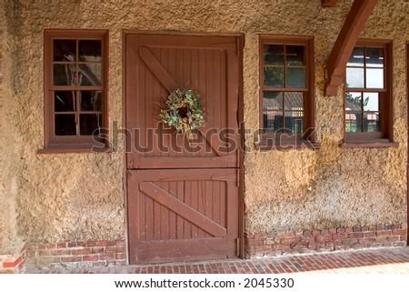 Barn Door Wreath Windows Stock Photo Edit Now 2045330 Shutterstock