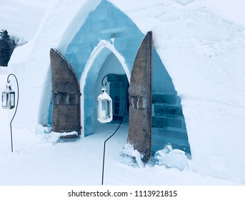 Barn doors and lanterns at  Ice hotel Quebec Canada
