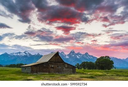 Barn in early morning at Grand teton National park,Wyoming,usa.