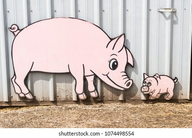 Barn Farm Animal Sign of Pig and Piglet