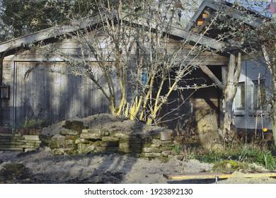 Barn in a nature garden