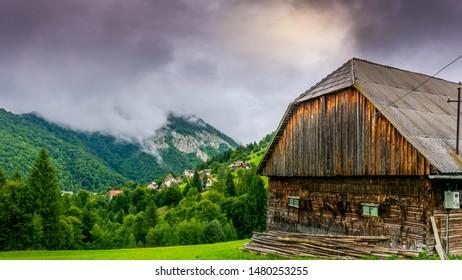 Barn in a rural landscape