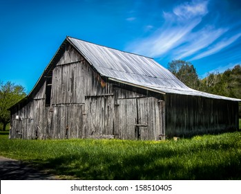 A barn is seen on a beautiful spring day in Tennessee.