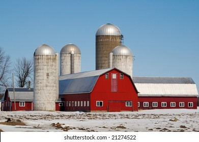 Barn and Silos in Winter