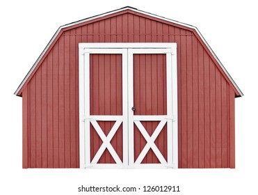 Barn style utility tool shed for garden and farm equipment, isolated on white background