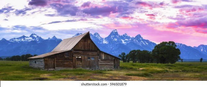 Barn at sunset at Grand teton National park,Wyoming,usa.