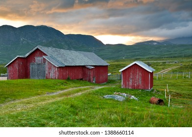 Barn in sunset at a mountain farm in Norway