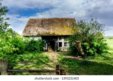 barn with thatched roof in northern germany