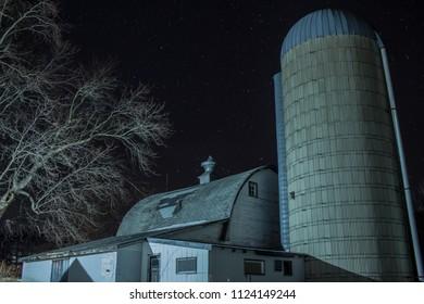 Barn under stars