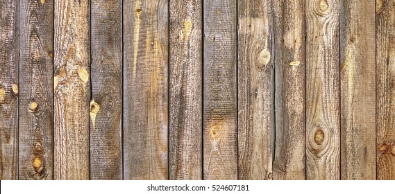 Barn Wooden Wall Planking Texture. Reclaimed Old Wood Slats Rustic Horizontal Background. Home Interior Design Element In Modern Vintage Style. Hardwood Dark Brown Structure. Abstract Web Banner