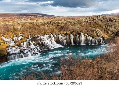 Barnafoss and Hraunfossar in February in Iceland