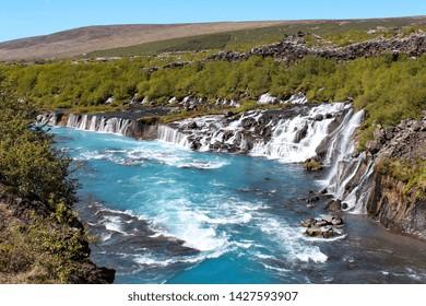 Barnafoss and Hraunfossars waterfall in Iceland