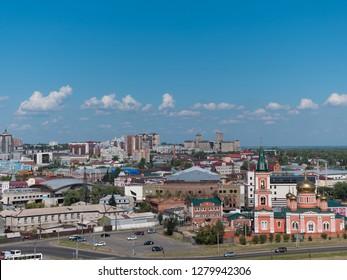 BARNAUL ALTAI KRAI. RUSSIA. 25 SEPTEMBER 2018 : The view of the city and church Altai Krai. Western Siberia. Russia.