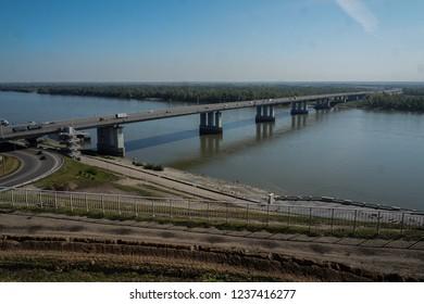 Barnaul bridge over the river