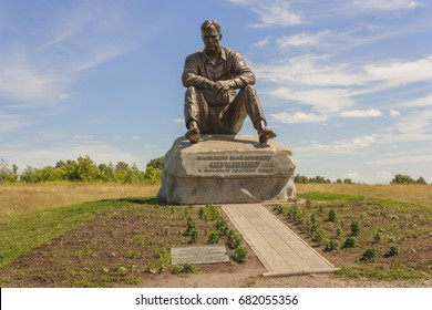 BARNAUL - JUNE 5: Monument on Mount Picket - sculpture Vasily Shukshin. in Russia on June 5, 2014 in Barnaul, Russia