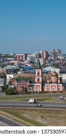 BARNAUL RUSSIA- AUG 25, 2018: of the city Barnaul view of the city and church, Altai, Russia