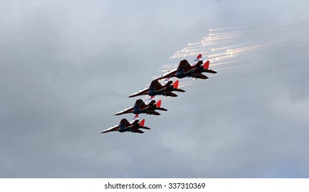 BARNAUL, RUSSIA - AUGUST 16, 2015: Aerobatic Team Russian Knights at WorldWide AirShow in Barnaul, Russia.