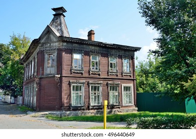 Barnaul, Russia, August, 17, 2016. A wooden manor from the early of 20th century on Pushkin street, the house 45 in Barnaul