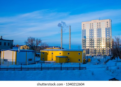 Barnaul / Russia - Feb 2019: The modern house in Barnaul. Cold Russian winter in Siberia.