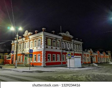 Barnaul / Russia - Feb 2019: The old wooden house in Barnaul. Russian winter in Siberia.