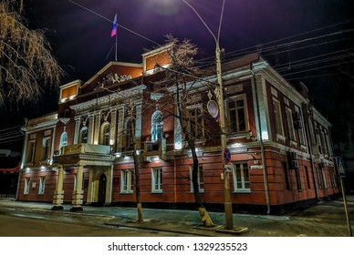 Barnaul / Russia - Feb 2019: The old Soviet house in Barnaul. Cold russian winter in Siberia.