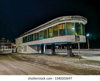 Barnaul / Russia - Feb 2019: The old Soviet bus terminal in Barnaul. Cold russian winter in Siberia.