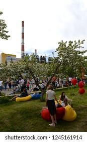 "BARNAUL, RUSSIA JUNE 2, 2018: Art festival ""Warming"" at Barnaul CHP-3"