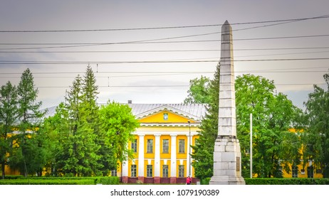 Barnaul / Russia - May 28 2017: Demidov square with Demidovsky Pillar monument in Barnaul Russia