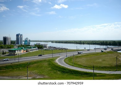 BARNAUL, RUSSIA - MAY 29, 2017:View of the city of Barnaul from the mountainous part.