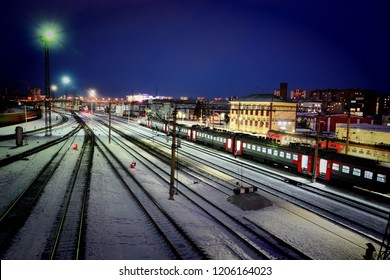 Barnaul, Russia - October 5, 2017.Railway tracks and locomotives at the station
