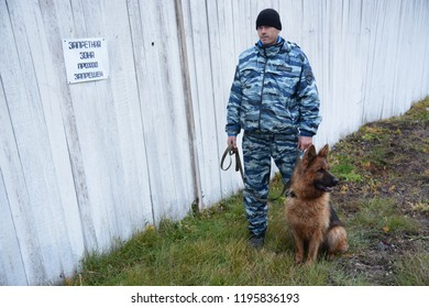 Barnaul, Russia-October 20, 2017.Russian police dog handlers train service dogs