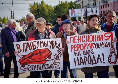 Barnaul, Russia-September 22, 2018. Protest rally against Putin's policy and pension reform
