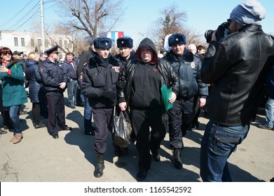 Barnaul,Russia - April 8, 2017. Anti-corruption rally