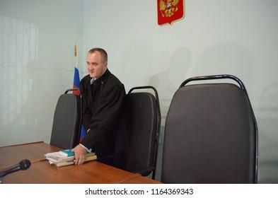 Barnaul,Russia - August 15, 2018. blogger Maria Matuska during the trial