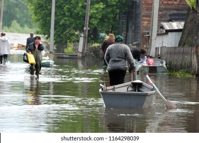 Barnaul,Russia - June 26, 2010. Flooding on the Ob river.The flooding of the city