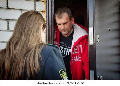 Barnaul,Russia-April 10, 2019.Russian bailiffs describe the property of debtors