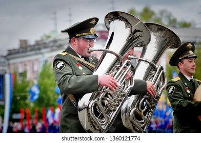 Barnaul,Russia-may 9, 2017.A military band plays a March
