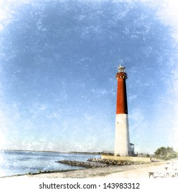 Barnegat Lighthouse on Long Beach Island New Jersey known as Old Barney. Original photograph without retro textured style also in my portfolio.The 165-foot red and white tower marks the 40th parallel