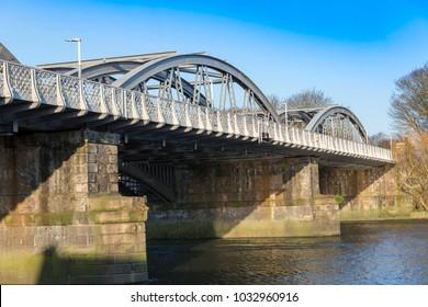 Barnes Railway Bridge, over the River Thames, London, UK