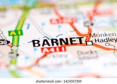 Barnet. United Kingdom on a geography map