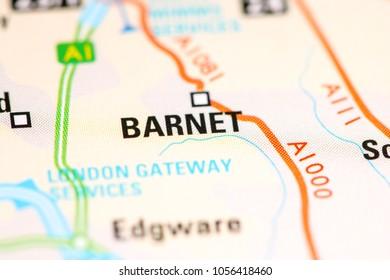 Barnet. United Kingdom on a map